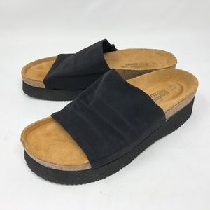 NAOT Alana Unisex Black Fabric Sandal Slides 9
